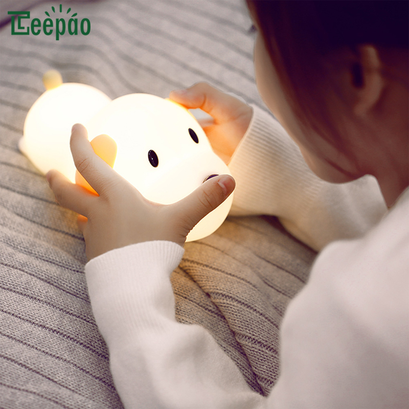 Silicone Dog Night Light Touch Sensor LED Light Adjustable Brightness Rechargeable Timer Table Lamp for Kids Room