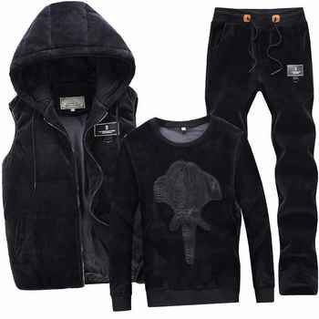2019 New Fashion Autumn Winter Sportswear Men Sporting Suit Hoodies+Pant+Vests Velvet 3 Piece Set Male Tracksuit For Men Clothes - DISCOUNT ITEM  46% OFF All Category