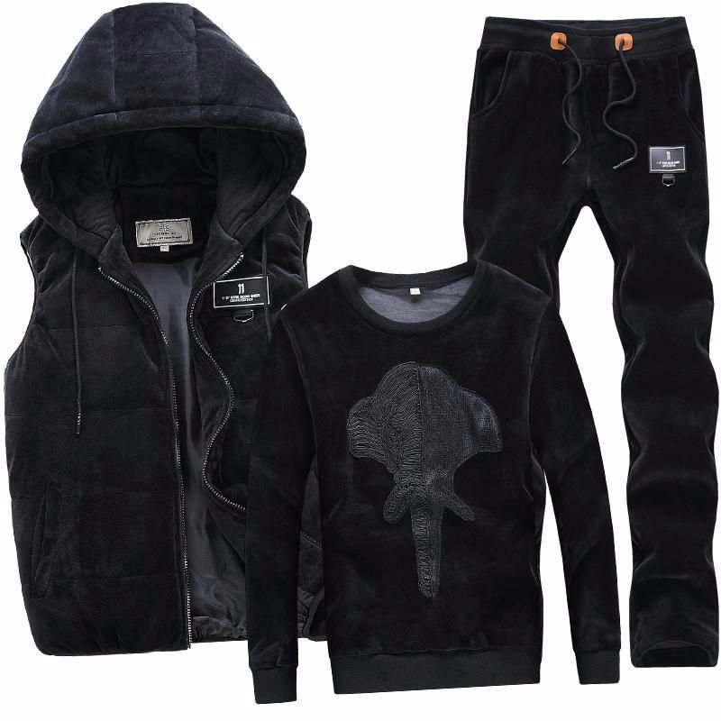 2020 New Fashion Autumn Winter Sportswear Men Sporting Suit Hoodies+Pant+Vests Velvet 3 Piece Set Male Tracksuit For Men Clothes