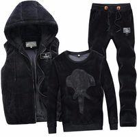 2020 New Fashion Autumn Winter Sportswear Men Sporting Suit Hoodies+Pant+Vests Velvet 3 Piece Set Male Tracksuit For Men Clothes
