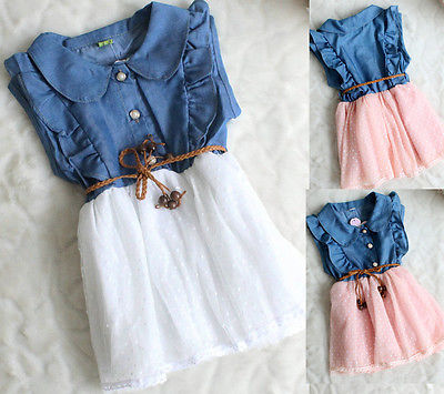 1-5T Summer Cute Cotton Baby Girls Princess Tulle Clothes Kids Denim Sleeveless Jeans Party Dress Tutu girls christmas cotton princess dresses kids summer sleeveless new party fashion princess dress baby girls cotton clothes