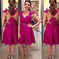 Sexy Short Fuchsia Lace Homecoming Dress Girls Sheer Homecoming Dresses Mini Cheap Graduation Dress Party Gowns Dresses HC65
