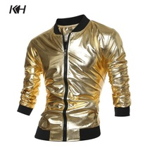 KH New Arrival Spring and Autumn Fashion Gold Jacket Coat Nightclub Shiny Hip Hop Casual Overcoat Mens Bomber Jacket Outerwear