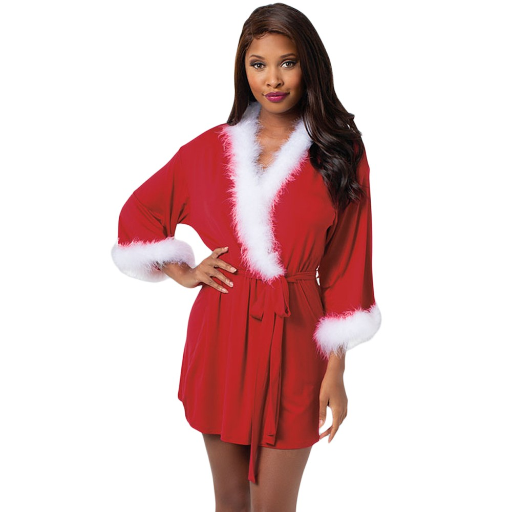 3e3f97416a Aliexpress.com   Buy Zmvkgsoa Christmas Dresses Women Sexy Santa Claus  Marabou Trimmed Red V Neck Long Sleeve Mini Dress Robe Vestidos Y720004  from Reliable ...