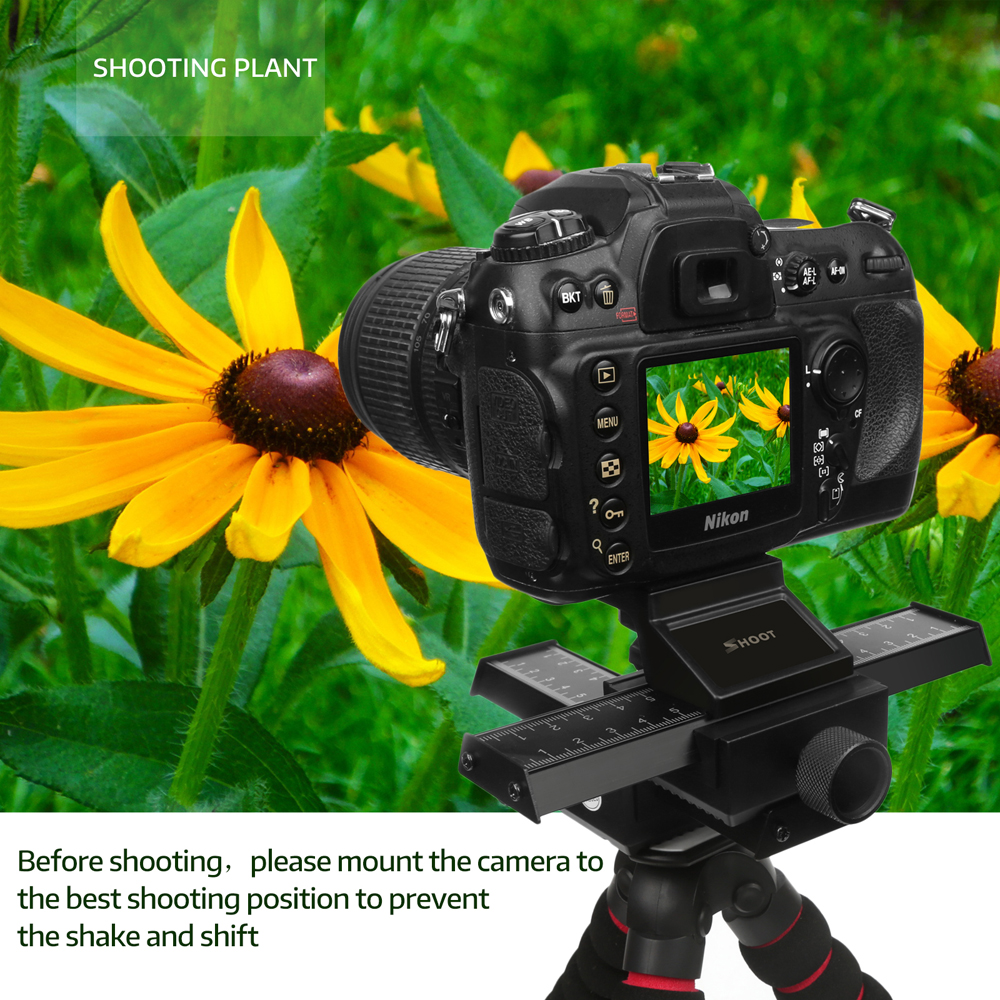 4 Way Macro Focusing Focus Rail Slider Close-up Shooting Gimbal for Nikon Canon Sony DSLR SLR Camera with Standard 1/4