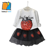 YKYY YAKUYIYI 2016 Brand New Autumn Girls Suit Sweet Letter Cartoon Girl Sweatshirt Kids Set Soft Tulle Skirt Children Suit