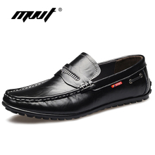 MVVT Genuine Leather Men Shoes Fashion Business Men's Dress Shoes Formal Shoes Slip-On Leather Men Flats