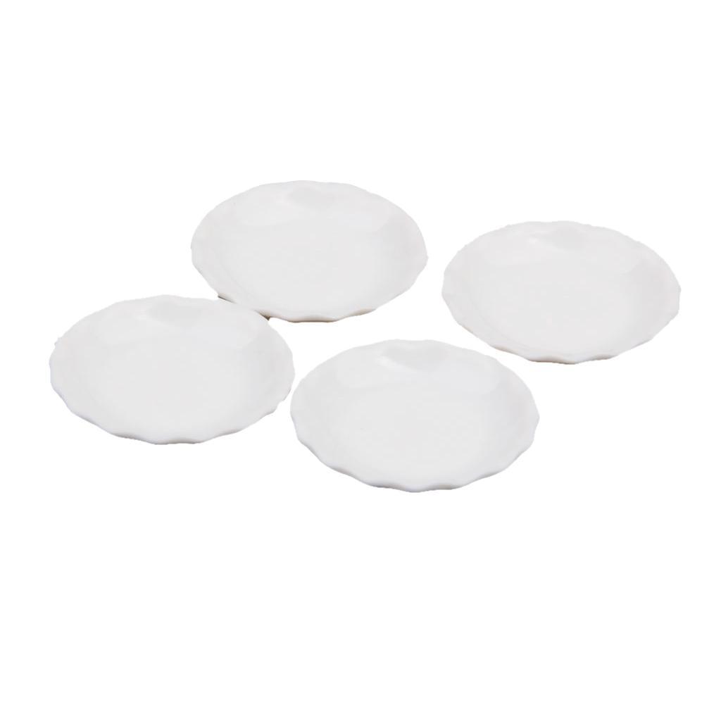 4pcs 1//12 Dollhouse Miniature White Dishes Plate Kitchen Tableware Accs