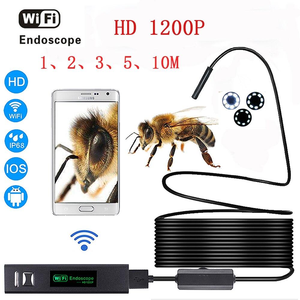 HD 1200 P wifi endoscope caméra avec Android et IOS Endoscopio 8 LED 8mm Étanche D'inspection Endoscope Tube Caméra 1-10 M câble