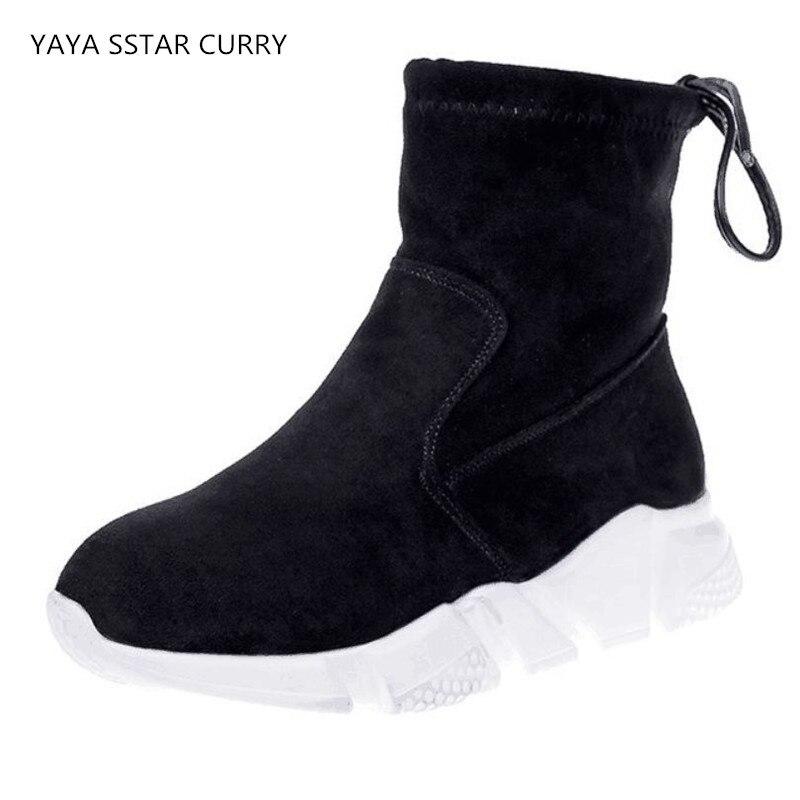 YAYA/звезда Curr IE Европейский станция обувь 2018 новые женские скраб стрейч обувь на платформе кроссовки прогулочная обувь