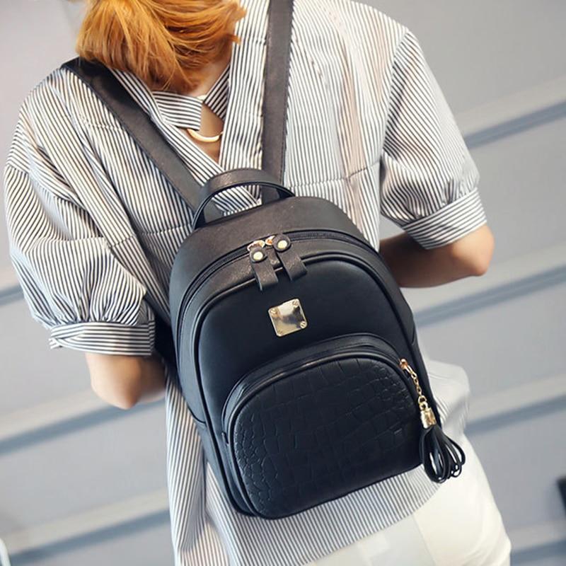 2018 Vintage Mini Tassel Backpack Women Leather Bakcpack School Bag Simple Bags for Teenage Girls Female Travel Rucksack Black