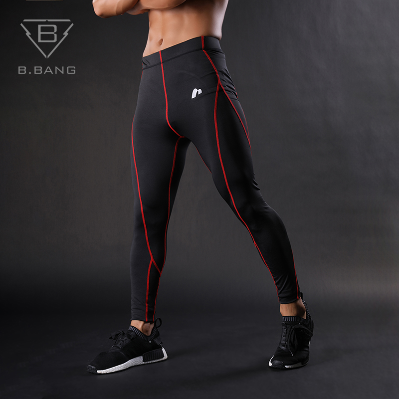 B.BANG Pants For men Bodybuilding Mans Trousers Compression base layer fitness Gym Running Tight Pants Elastic Quick dry M-XXL