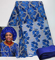 5 yards African french lace tulle fabric matching beaded applique aso oke headtie full length