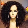 Cordón del cabello humano pelucas para mujeres negras brasileña del pelo humano del frente del cordón pelucas de pelo del bebé sin cola llena del cordón Afro rizado peluca rizada