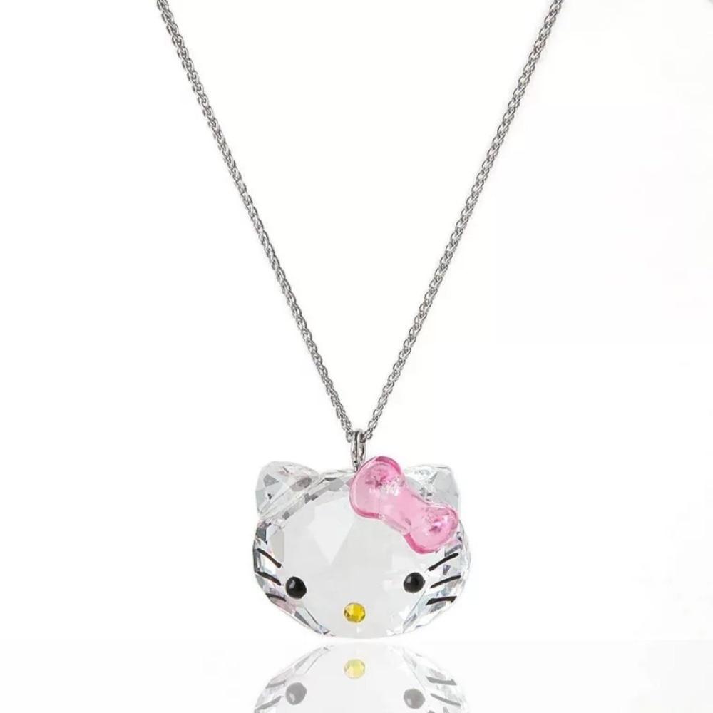 d53c3e74fbe8 Cisne joyería Venta caliente cristal colgantes collares Hello Kitty moda cadena  collar dulces lindos regalos para hija chica amiga en Collares pendientes de  ...