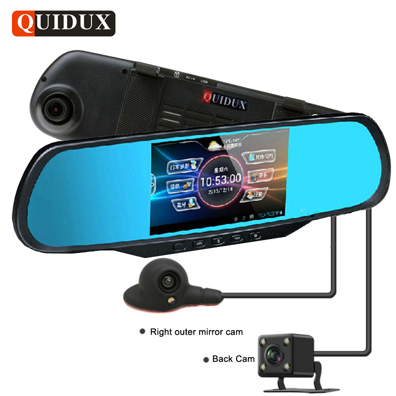 QUIDUX 3 Way Camera Car rearview mirror DVR 1080P Panoramic view Video Recorder GPS dash cam rear view mirror camera Bluetooth relaxgo 5android rearview mirror car camera gps navigation wifi car video recorder dual lens 1080p vehicle dvr parking dash cam