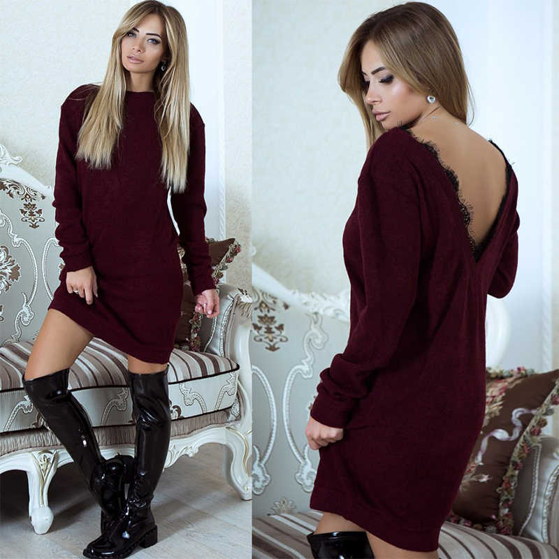 Winter Fashion Jumper Christmas Knitted Female Sweater Dress Women Long  Sleeve Sexy Backless Femme Pullover f2e36695b56f