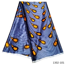 100% satin fabric Prints Fabric Ankara Satin Wax High Quality 5 yards African for Party Dress 1302-101