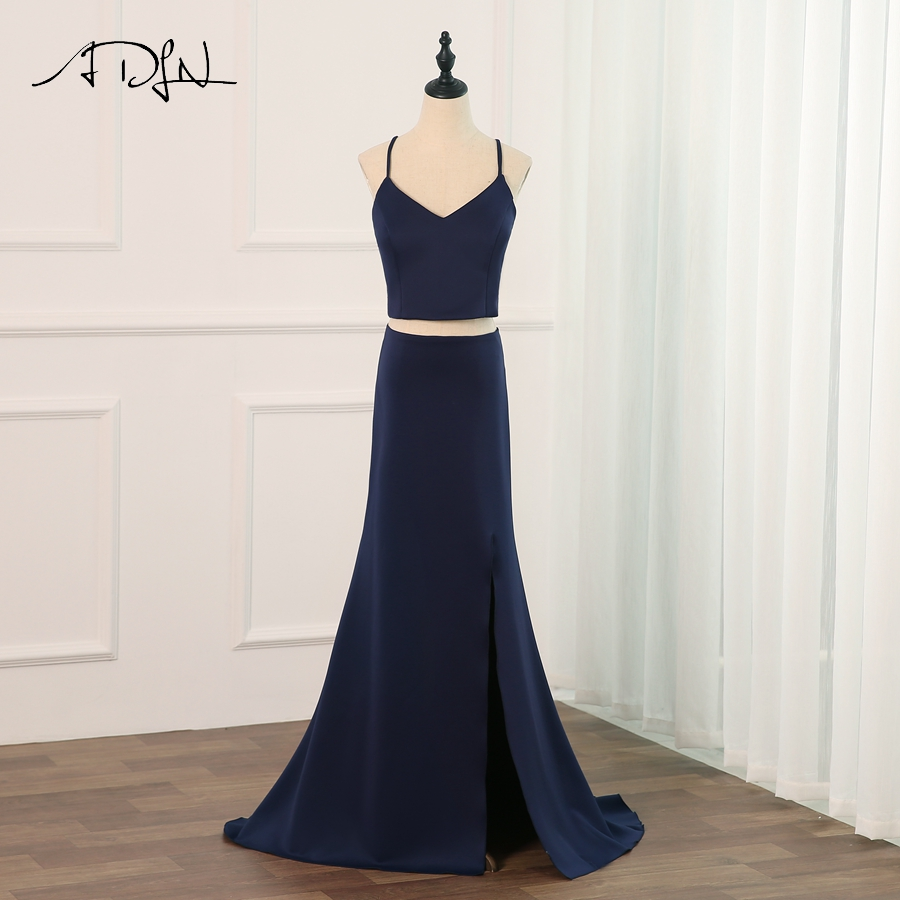 ADLN Sexy Halter Sleeveless   Prom     Dress   Crop Top Party Evening   Dresses   Mermaid Floor Length with Side Slit Lace Covered Back