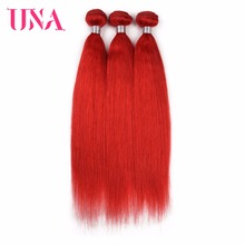 UNA HUMAN HAIR Pre-Colored Malaysian Straight Hair 3 Bundles Deal 100% Human Hair Bundles Non-Remy Malaysia Hair Bundles #Red