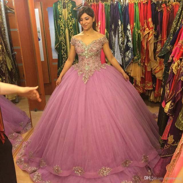 43d01269235 Gorgeous Pink Quinceanera Dresses 2016 Ball Gown Beaded Ruffled Organza  Sweet 16 Dress Party Gown Vestidos