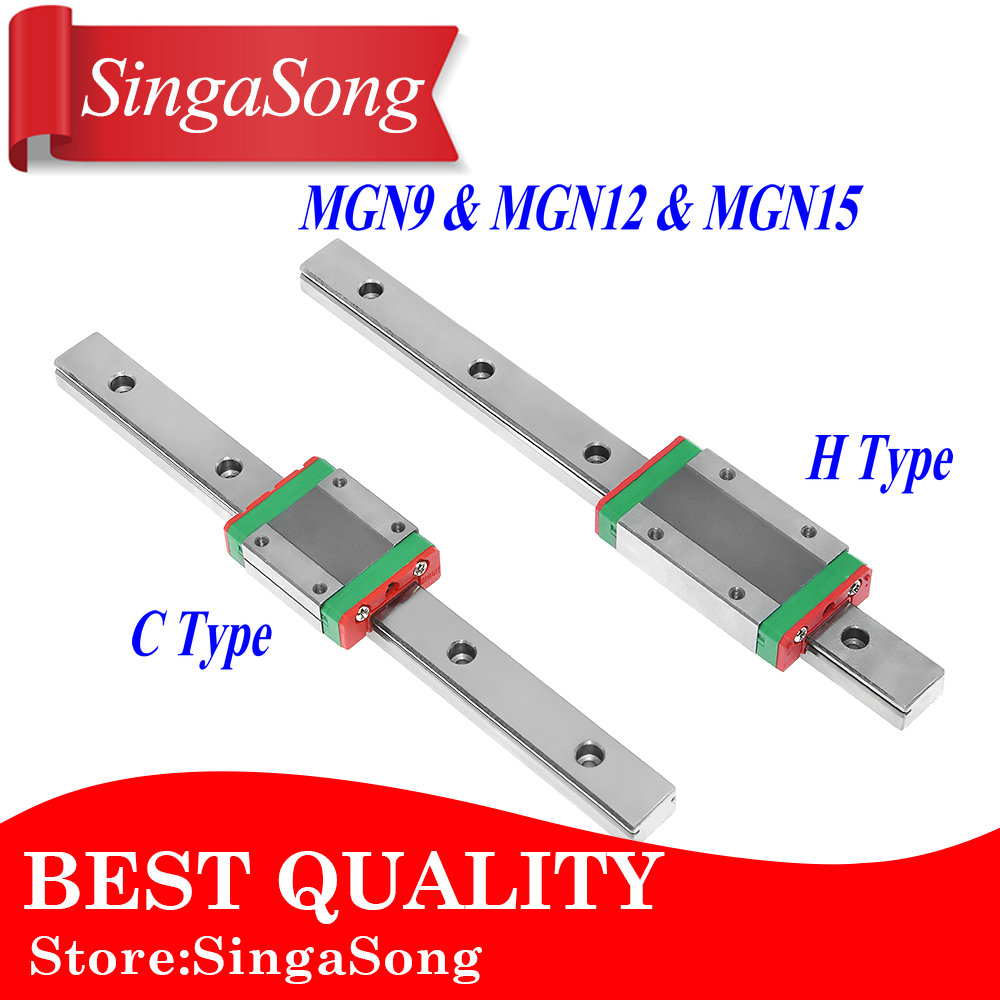 MGN12 MGN15 MGN9 miniature linear rail slide1pc MGN9 linear rail guide +1pcs MGN9 carriage 1pcs mgn9 175mm linear rail 1pcs mgn9h carriage
