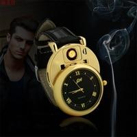 2017 Military USB Charging Sports Clock Lighter Watch Men S Quartz Watch Wristwatches Windproof Flameless Cigarette