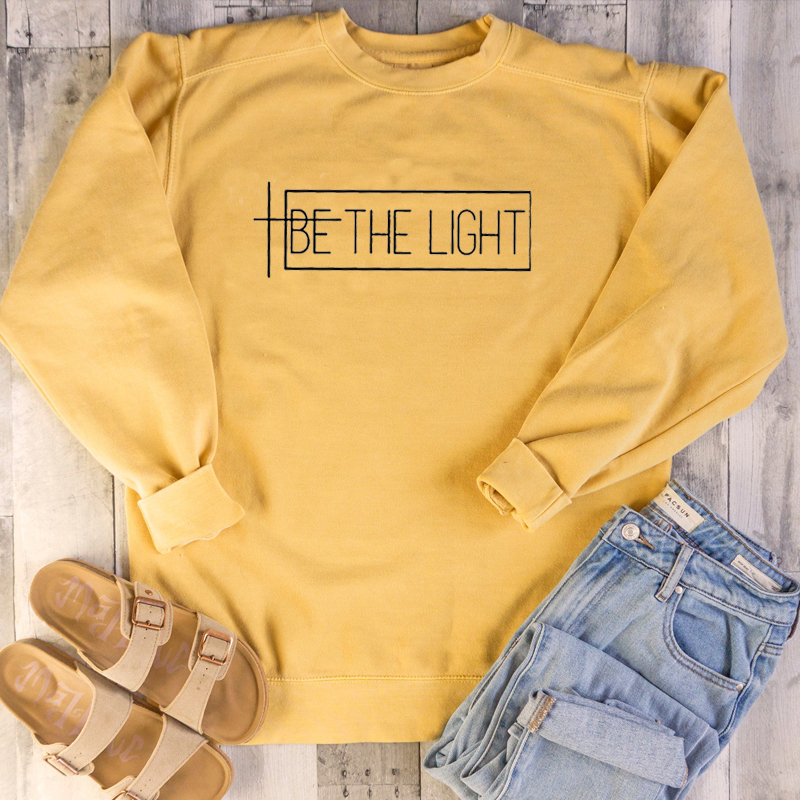 BE THE LIGHT Women Sweatshirt and Hoodies Pullover Crewneck Long Sleeved Harajuku Streetwear Faith Tumblr Christian Clothes Tops bts v warriors jacket