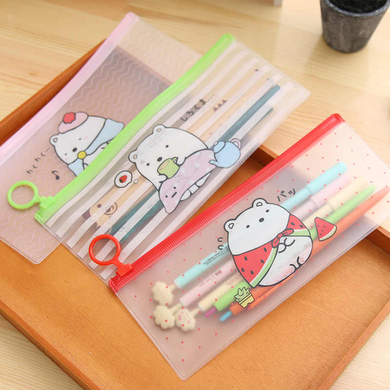 Cute Bear PVC Pencil Case Plastic Transparent Pen Bags Kawaii Pencil Cases For Boys Korean Stationery Office School Supplies