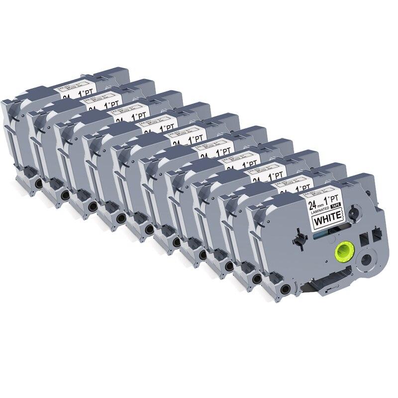 10PCS kingroad 24mm TZ251 TZe251 TZ2 251 Laminated Label Cartridge Tapes compatible for PT300 520 750
