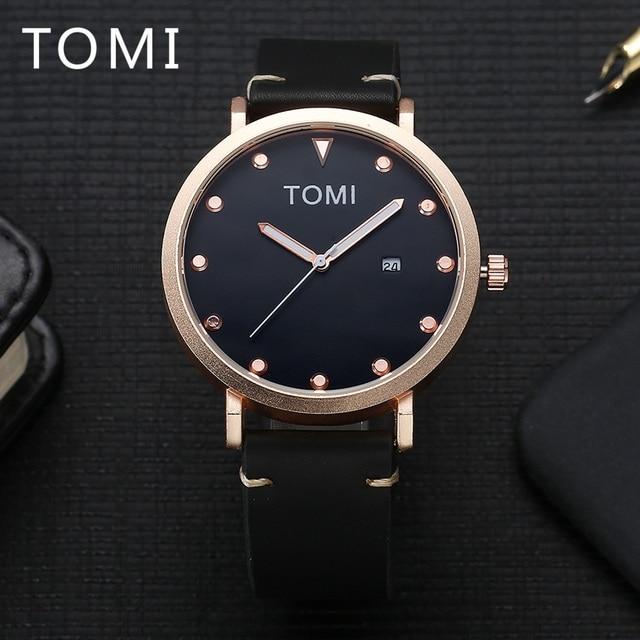 1f09c7124fcf TOMI marca de lujo reloj marcas Rosa reloj de negocios de cuero pulsera de  cuarzo para
