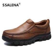Slip-On Sapatos Casuais Sapatos Masculinos de Couro Genuíno dos homens Do Vintage Cor Sólida Lazer Sapatos Sapatos Oxfords Dos Homens Anti-Escorregadio AA51712