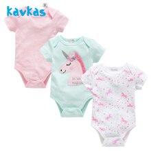Kavkas/Летняя Одежда для маленьких девочек 3 шт./компл. дизайн с рисунком единорога короткий рукав для новорожденных, для маленьких девочек, боди