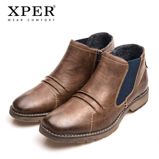 5039a0aef0ec7 XPER Brand Autumn Winter Boots Men Fashion Chelsea Boots Breathable  Footwear Zipper Male Square Toe Shoes Hot Sale #XHY81902BR