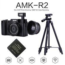 Big discount AMKOV AMK-R2 3″ Screen Digital Camera 24MP 1080P SLR  DVR Video Camcorder Wide-angle Lens+Extra 1pcs Battery+Tripod+Card Reader