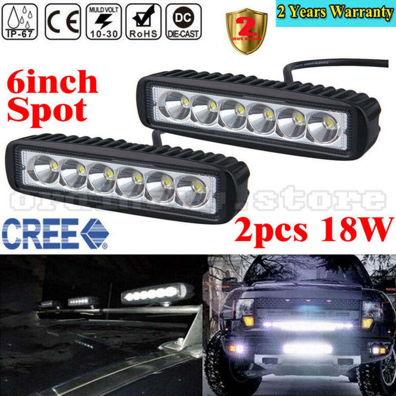 2pcs Super Bright 18W 6 LED Car Auto Truck Offroad SUV 4WD ATV Boat Bar Work Light Driving Fog Spot Night Safety Lamp Waterproof 18w work lights spot lamp off road driving fog 6 led bar atv 4x4 truck suv car styling auto parts accessories