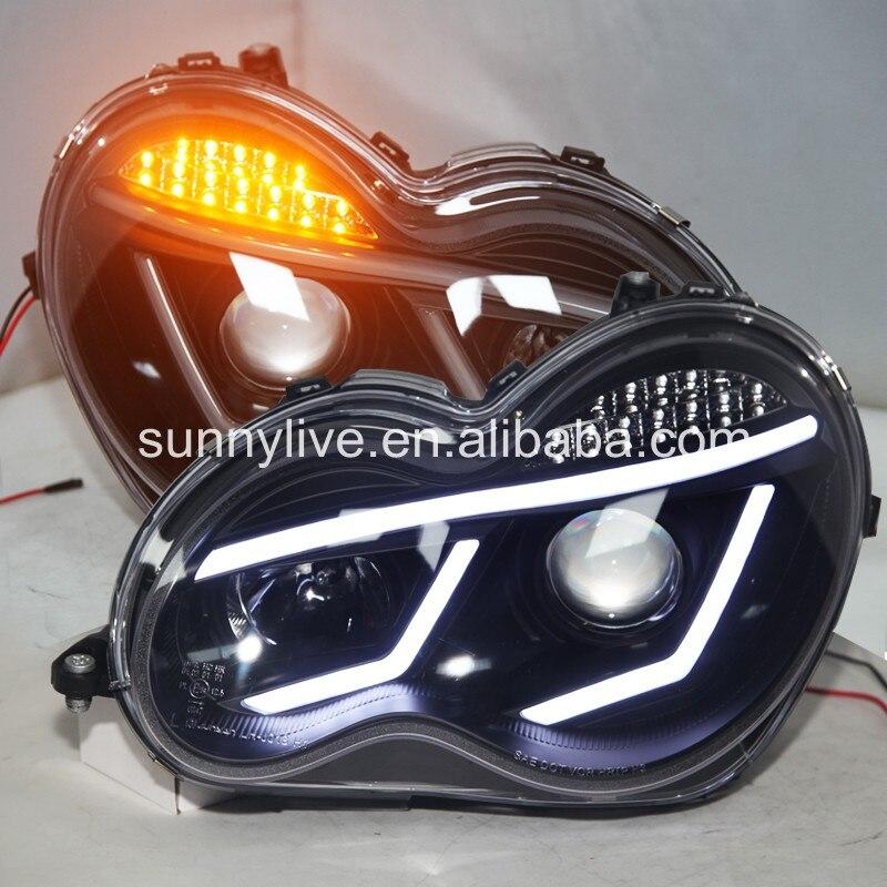 Для Benz 2007 2000 год W203 C63 C200 C230 280 светодио дный 300 светодиодные ангельские глазсветодио дный Автомобильные фары черный корпус jy