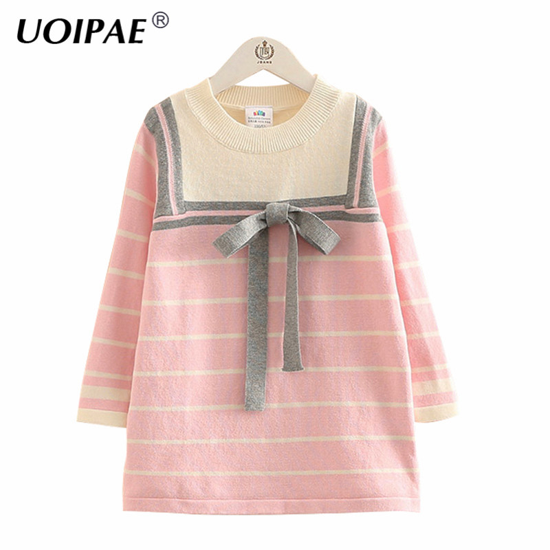 Dress Girl Kids Spring New 2017 Casual Striped Bow Children Party Dress Long Sleeve O-neck Simple Baby Girl Clothes 4776W girl dress party new 2016 casual vertical striped summer dress girl o neck simple cute kids clothes girls 3225c
