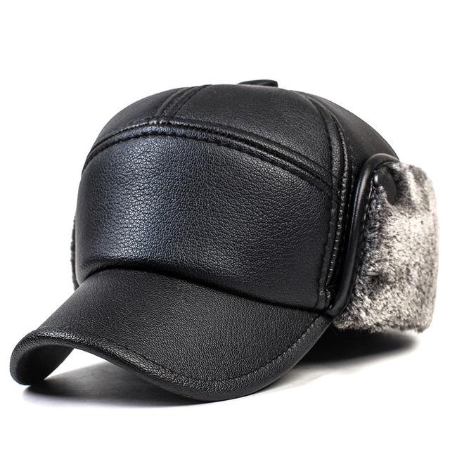 2016 otoño y el invierno de la moda de Alta calidad de los hombres de béisbol de cuero hombre sombreros de invierno orejeras casquillo caliente, además de terciopelo grueso sombrero