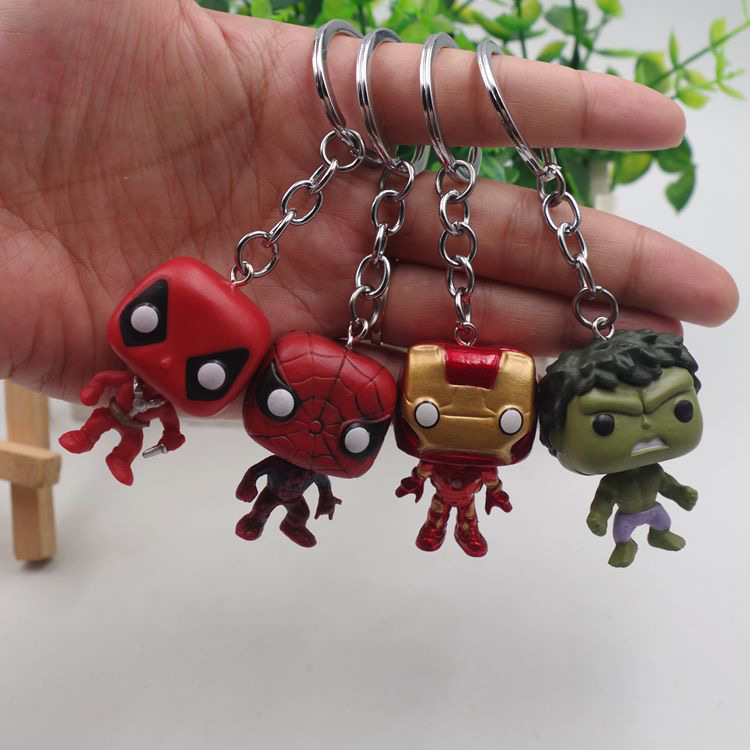Movie Super Hero Iron Man Spiderman Hulk Deadpool PVC Keychain Bag Gifts Kids Party Classic Film For Fans