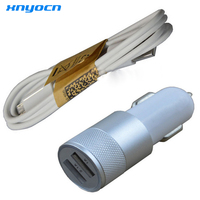 Metal 5V 3 1A OEM Dual Car Charger Usb Cable For Samsung Galaxy S6 Edge Plus