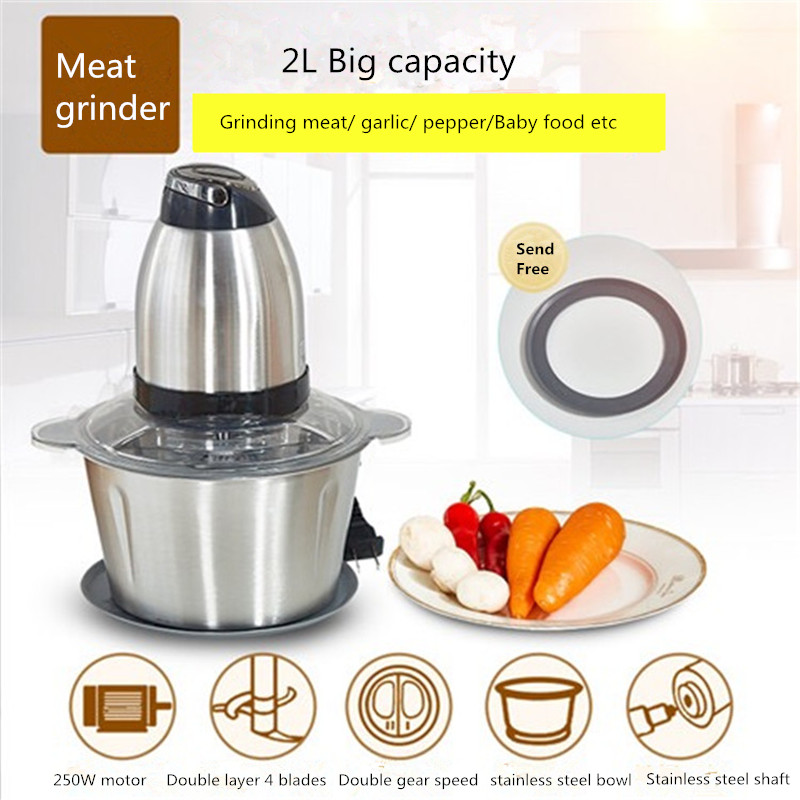 все цены на Automatic Electric Meat Grinder for Kitchen Multi-function Food Processor Household Spice Fish Meat Chopper 2L