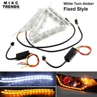 MIXC TRENDS 2Pcs White Amber LED Daytime Daylight Running Light Car Flexible LED Strip DRL Switchback