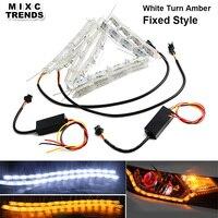 MIXC TRENDS 2Pcs White Amber LED Daytime Daylight Running Light Car Flexible LED Strip DRL Switchback