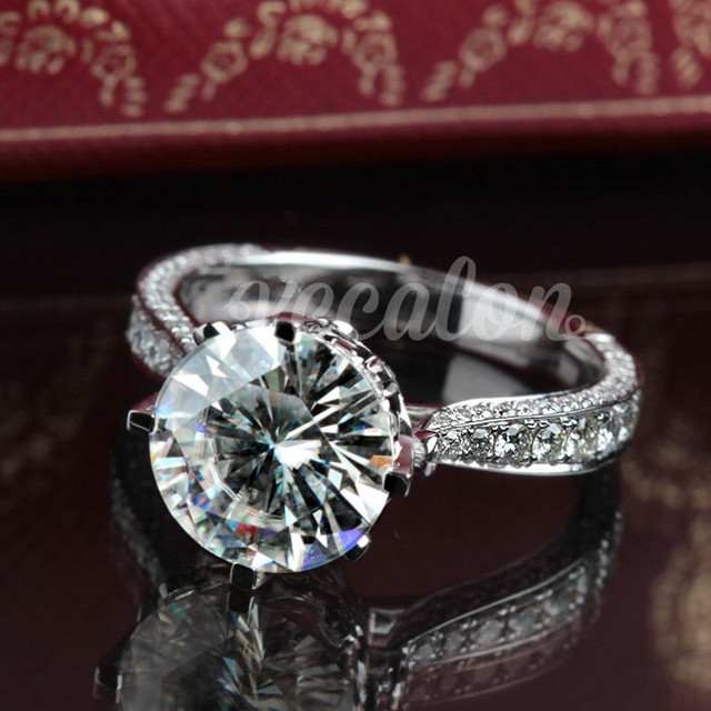 Vecalon New Women Vintage Jewelry ring Round 3ct AAAAA Zircon Cz 925 Sterling Silver Engagement wedding Band ring for women