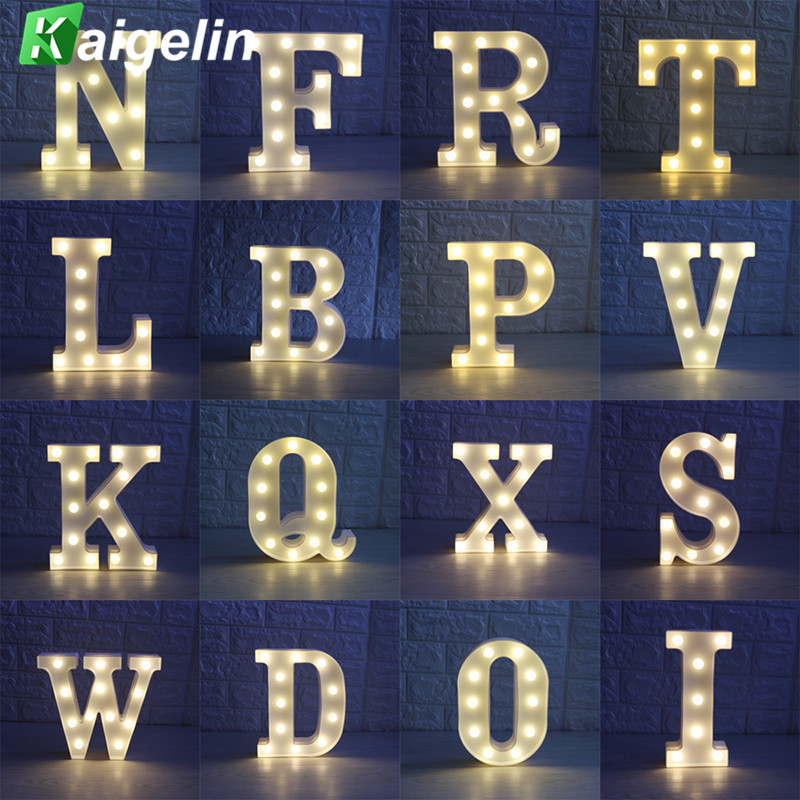 26 Letters White LED Night Light Marquee Sign Alphabet Night Lamp Wall Hanging For Wedding Party Bedroom Decor Indicator Light цена
