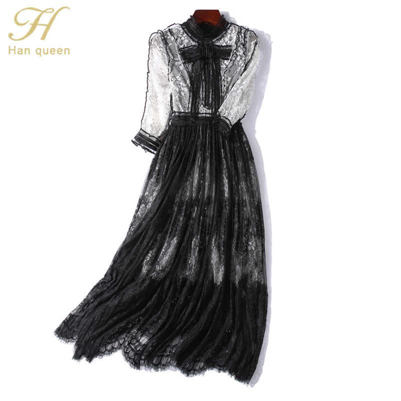 H Han queen, сексуальные кружевные лоскутные платья трапециевидной формы с бантом, женские прозрачные платья, элегантное платье со стоячим воротником, Платья для особых случаев
