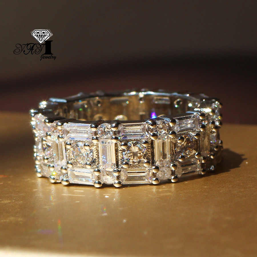 YaYI Perhiasan Mode Princess Cut 5.2CT Warna Putih Zircon Perak Engagement Rings wedding Rings Partai Rings