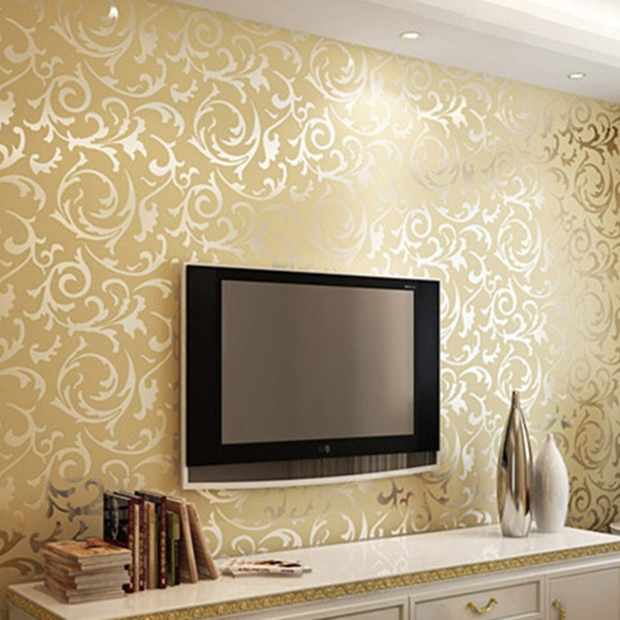 Luxury Wallpaper Rolls Of Floral Pvc Light Reflection Mural Gold