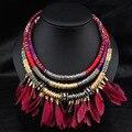 Collier ethnique collar 2016 de la vendimia de boho bohemia collares cuerda de cuero joyería étnica india de big chunky collar de plumas